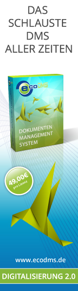 ecoDMS ist ein professionelles Dokumenten-Management-System zum Scannen, Archivieren und Verwalten jeglicher digitaler und papiergebundener Dokumente.